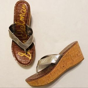 Sam Edelman Romy Cork Wedge Sandals Silver Size 9